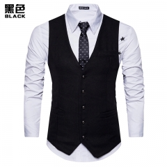 Men's Suit Vest English Style Slim Casual Business Groom Clothing Navy Black Grey Dark Grey S-XXL Black S