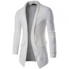 Men's Long Warm Sewater Korean Casual Lapel Big Pocket Trench Coats White Grey Black Brown M-XXL White M