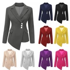New Women's Suit Long Sleeve Asymmetrical Lapel  Buttons Slim OL Girl's Short Coat Jacket S-XXXL White S