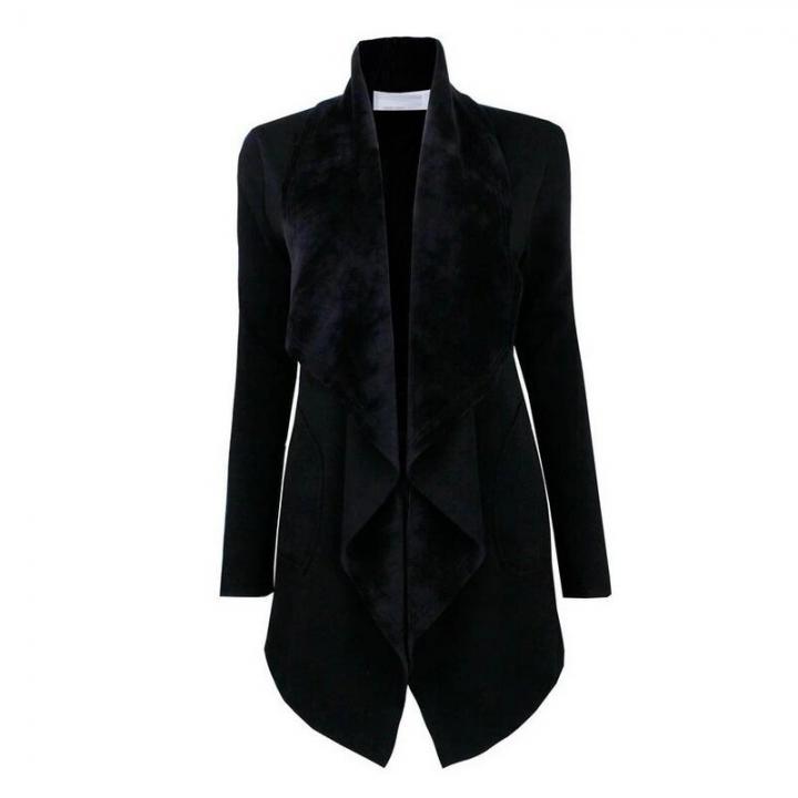 New Women's Cardigan Lapel Coat Long Sleeve Outwear Casual Slim Office Lady Girl's Windbreaker S-XXL black m