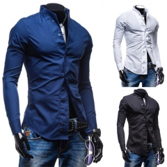 Classical Men's Shirt Long Sleeve Slim casual Business Fashion Shirt M-XXL for 55-85KG white m