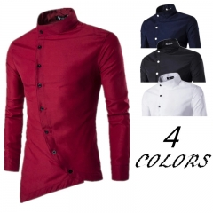 Men's Fashion Shirt Oblique Top Fly Asymmetric Stand Collar Casual Long Sleeve 165-185CM 50-82KG white m