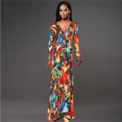 Women's Long Dresses V Collar Long/Short Sleeve Slim Sexy Bandage Formal Dress L-5XL l D1146