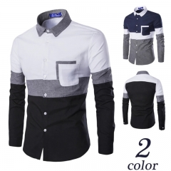 New Men Fashion Causal Shirt Three Color Patchwork OxFord Long Sleeve Coat Business Jacket M-3XL white m