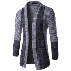 Men's Classical Fashion Cardigan Long Sleeve Contrast Sweater Casual Long Coat Warm Jacket M-2XL Light-grey m