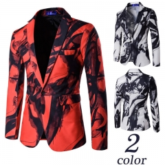 Men Fashion One-Button Suit Long Sleeve Business Fit Ink Painting Suits Wedding Male Dress Custom Red m