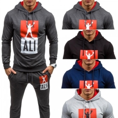 Men Sports Suits Sweatshirts Cardigans Hooded Fleece Long Sleeve Casual Clothes Pants Clothing S-XXL Dark S