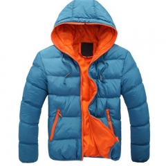 New Men Fashion Cotton-padded Hooded Coat Casual Long Sleeve Warm Jacket Winter Short Outwear M-3XL blue m