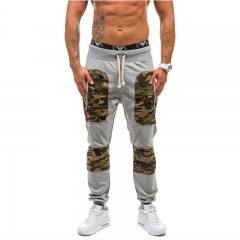 New Men Sports Cotton Trousers Patchwork Camouflage Casual Long Harem Pants for Spring Autumn S-2XL Black S