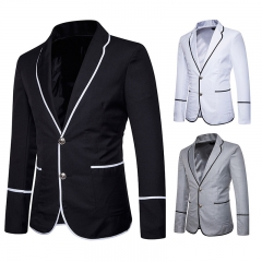Men Fashion Two-Button Suit Long Sleeve Business Fit Suits Wedding Male Dress Custom S-2XL black s