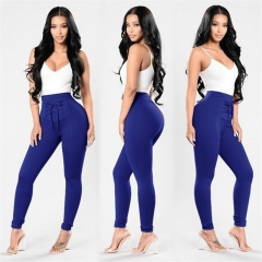 New Women's Solid  Color Large Size Trousers Fashion Bind High Waist High Elastic Skinny Jeans S-XXL Blue S
