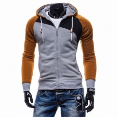 New Men Spring Autumn Hooded Fleece Slim Jackets Long Sleeve Fashion Zip Warm Casual Coats M-XXL Light grey-camel m