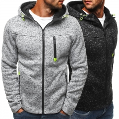 New Men Winter  Spring Sports Casual Hooded Fleece Zip Long Sleeve Cardigan Fit Jacket M-3XL black m
