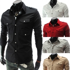 Men Pockets Shirt Long Sleeve Shoulder Strap Slim Business Outwork Fashion Coat 167-185CM 55-82KG white m