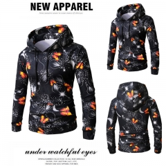 New Men Winter Autumn Fashion Printed Hooded Fleece Long Sleeve Casual Warm Outwork Jackets M-XXXL black m