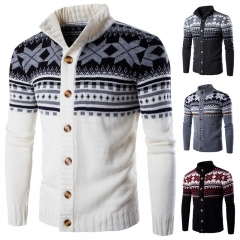 Men Fashion National Style Sweatshirts Contrast Color Long Sleeve Buttons Casual Cardigan Knit M-XXL white m
