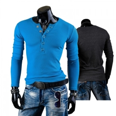 New Men Autumn Fashion V Collar T-shirts Long Sleeve Slim Casual Business Outwork Shirt M-XXL blue m polyester