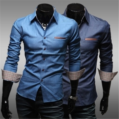New Men's Fashion Shirt Long Sleeve Pocket with Leather Slim Casual Cowboy Shirts Business 170-185cm light blue m