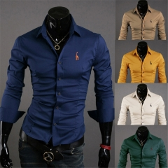 New Men's Fashion Shirts Long Sleeve Deer Embroidery Slim Casual Business Outwork Shirt M-XXXXL yellow m