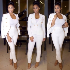 2018 New Women's Fashion Business Suits Slim Buttons Solid Color Long Sleeve Pencil Pants S-XL white s