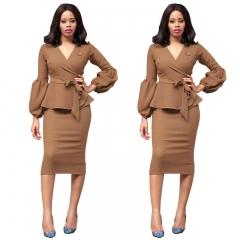 Winter Autumn Women's Fashion Sexy Dresses OL Ruffle Long Sleeve Slim Office Suits Formal Dress S-XL s brown