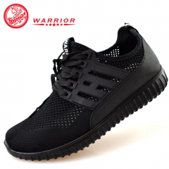 WARRIOR Men Shoes Classical Weaving Breathable Laces Casual Outdoor Sport Sneaker Sturdy Black 38