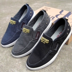 WARRIOR Autumn Men Shoes Male Fashion Canvas Casual Loafers High Quality Sport Sneaker Navy 38