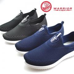 WARRIOR Men Shoes Fashion Weaving Breathable Casual Outdoor Running Walking Sport Sneaker Sturdy black 38