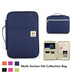 Multi-function Office School File Collection Package Student's Businessman's Ipad Bag Zip Briefcase Navy