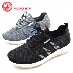 WARRIOR Fashion Men Shoes Autumn Weaving Breathable Laces Casual Outdoor Sport Running Sneaker 38-44 black 38