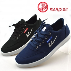 WARRIOR Autumn Men Shoes Male Fashion Lace Canvas Shoes High Quality Sport Working Sneaker 38-44 black 38