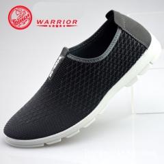 WARRIOR Men Shoes Fashion Weaving Breathable Soft Sole Running Walking Non-slip Sport Sneaker 38-44 grey 38