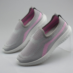 WARRIOR Women's Fashion Sneakers High Quality  Soft Elastic Slip-on Female lazy Shoes loafers 35-40 grey 35
