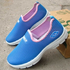 WARRIOR Spring Women Fashion Shoes Flat Slip-on Air Mesh lady casual shoes breathable 35-40 Blue 35