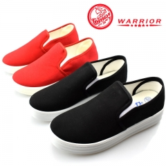 WARRIOR Women's Shoes Flats Casual Canvas Sneakers Platform Height Slip On Female  lazy Shoes 35-40 black 35