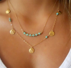 Women Fashion Necklace Turquoise Collarbone Chain Golden Multilayer Sequins Pendants Jewelry 45cm as picture one size