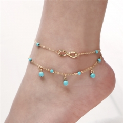 Women Fashion Golden Ankle Bracelet Turquoise Pendent Two Chains Foot Jewelry Barefoot  Anklets 22cm as picture one size