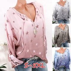 Women's Spring Summer  Blouse Causal loose Ladies Shirt Star Printed Long Sleeve Pullover Tops S-5XL pink s
