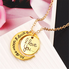 2019 Fashion Moon Sun Jewelry Golden I love You Bohemia Pendant Valentine's Day Gift Couple Necklace golden one size