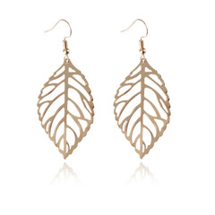 2019 New Hollow Gold Silver Leaves Vintage Design Earrings Boho Wedding Gift Valentine's Day Jewelry gold one size