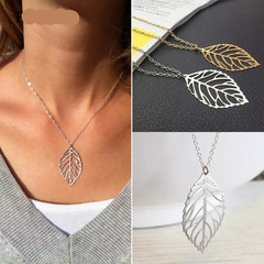 1PCS New Fashion Women Leaves Shape Pendant Wedding Chain Charm Jewelry Necklace Gift Gold Silvery gold one size