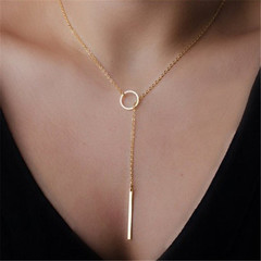 1PCS Women Accessories Plated Metal Chain Bar Circle Lariat Necklace Long Strip Pendant Jewelry Gift gold one size