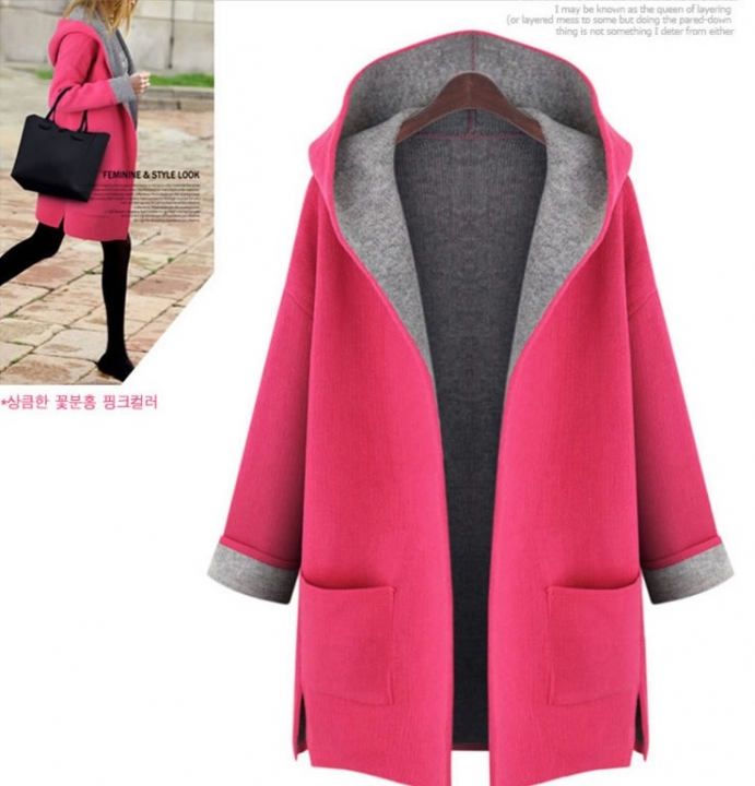 Autumn Fashion Warm Women Loose Hooded Cardigan Office Lady Trench