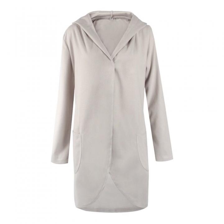 329bbf629a4c Hot Women Autumn Long Sleeve large size Fashion Loose Coat With Pockets  Lady jacket light Grey