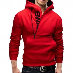 Men Slim Fit Hoodie Fashion Contrast Color Side Zipper Large Size Coat Jacket red m