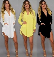 New Medium And Long Sleeved V Neck Irregular Chiffon Shirt Dress Women Wear black s
