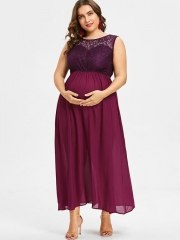 Large Size Pregnant Women Dress Round Neck Sleeveless Sexy Lace Stitching Chiffon Dress purple 3xl