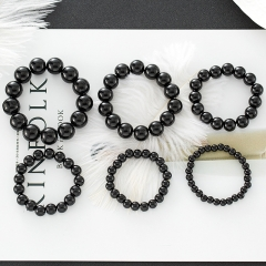 Imitation Obsidian Black Beads Bracelet Fashion Men And Women Bracelets Jewelry black 6mm