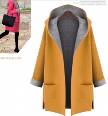 Autumn Fashion Warm Women Loose Hooded Cardigan Office Lady Trench Coat Jacket Women Clothing FBK yellow xxxl