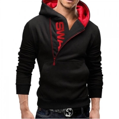 Men Slim Fit Hoodie Fashion Contrast Color Side Zipper Large Size Coat Jacket Handsome Men FBK black and red xl